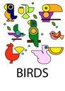 Birthday set vector elementsSet of vector bird icons on white background, Bird Icon, Vector bird for your design. Royalty Free Stock Photo