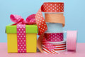 Birthday or special occasion gift wrapping. Royalty Free Stock Photo