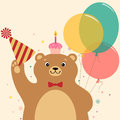 Birthday surprise cute cartoon bear with cake Stock Photo