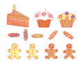Birthday sweetmeats set of over white Royalty Free Stock Photography