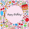 Birthday symbols vector illustration Royalty Free Stock Photo