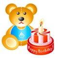 Birthday teddy bear with cake