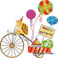 Birthday tortoise vector illustration of a cute on a motorize tricycle with balloons cupcake and a happy sign eps Royalty Free Stock Images