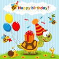 Birthday turtle celebration vector illustration Stock Photos