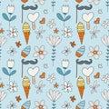 Birthday vector seamless pattern. Cute greeting illustration.