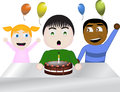 Birthdayparty with vector kids illustration depicting birthday party Royalty Free Stock Photography