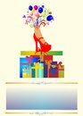 Birthdays composition with a pile of presents on birthday Royalty Free Stock Images