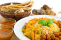 Biryani rice and chapati or briyani fresh cooked with steam delicious indian cuisine Stock Photos