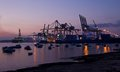 Birzebugga malta may cargo port in birzebugga malta panoramic view of cargo port early morning on may industrial ar area Stock Photo