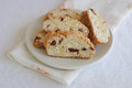 Biscotti with almond and cranberry in white plate with napkin Stock Photography