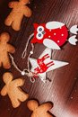 Biscuit boy with bright ornaments for Christmas.