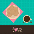 Biscuit cookie cracker on the plate and cup of cof Royalty Free Stock Photo