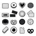 Biscuit, cookie - food icons set