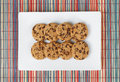 Biscuit cookies top view closeup on white table Royalty Free Stock Image