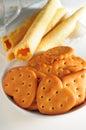 Biscuit heart sharp cracker egg roll Stock Photos