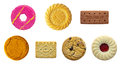 Biscuit selection all at correct scale to each other on a isolated white background with a clipping path Stock Image