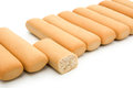 Biscuit sticks and a broken section with clipping path Royalty Free Stock Photography