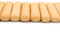 Biscuit sticks line up with clipping path Stock Images