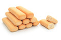 Biscuit sticks line up with clipping path Royalty Free Stock Images