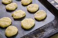 Biscuits on a baking sheet metal Royalty Free Stock Photo