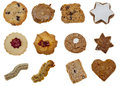 Biscuits collage of various types of isolated against a white background Royalty Free Stock Photo