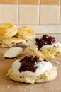Biscuits with jam Stock Photo