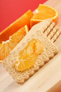 Biscuits, marmalade and orange Royalty Free Stock Image