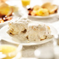 Biscuits with sausage gravy shot close up Royalty Free Stock Photography
