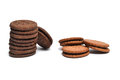 Biscuits stacks of chocolate with cream Stock Image