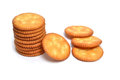 Biscuits stacks of salty on white background Royalty Free Stock Photography