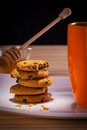 Biscuits with tea hot and honey Royalty Free Stock Photography