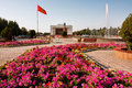 Bishkek kyrgyzstan people have rest near the fountains flowerbeds at the city main square in s popul is mill are under Stock Image