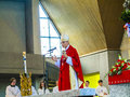 Bishop franz peter tebartz van elst koenigstein germany may at the inauguration ceremony of the young confirmants on may in Stock Photos