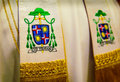 Bishop s emblem embroidered ribbons on his miter jan baxant from litomerice czech republic Royalty Free Stock Images