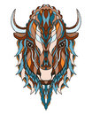 Bison head zentangle stylized vector illustration freehand pe pencil hand drawn pattern print for t shirts mobile cover design Royalty Free Stock Photography
