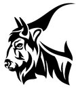 Bison profile head design black and white outline Royalty Free Stock Images