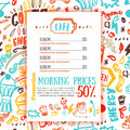 Bistro menu with coffee pattern on background in bright sketch style, hand drawn vector illustration Royalty Free Stock Photo