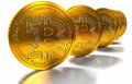 Bit coin btc the new virtual mone d render two bitcoins money Royalty Free Stock Images