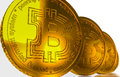 Bit coin btc the new virtual mone d render two bitcoins money Royalty Free Stock Photography