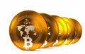 Bit coin btc the new virtual mone d render two bitcoins money Stock Photography