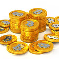 Bit coin the coins on white background Royalty Free Stock Photo