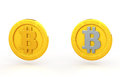 Bit coin of two types Stock Photos