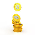 The bit coin on white background coins stacked Royalty Free Stock Photos