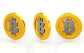 Bit coins the coin three kinds of white background Royalty Free Stock Image