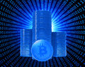 Bit coins the virtual currency concept illustration Stock Photos
