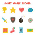 8 bit item icons color Royalty Free Stock Photo