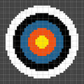 Bit pixel art archery target round each has been left as a square and the circles are separated onto different layers for further Royalty Free Stock Photography