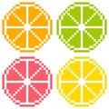Bit pixel art citrus fruit slices orange kalk pampelmuse Lizenzfreie Stockfotos
