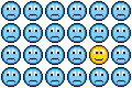 Bit pixel art sad faces and one happy face loads of blue conveying the idea of depression positive thinking Stock Images