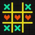 Bit pixel art tic tac toe with kisses and love heart symbols game Stock Photos